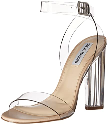 Steve Madden Women's Teena Dress Sandal, Clear, ...