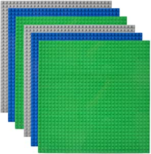 """Lekebaby Classic Baseplates 10""""x10"""" Large Building Board Base Plates 100% Compatible with All Major Brands, 6 Pack, Green/Blue/Grey"""