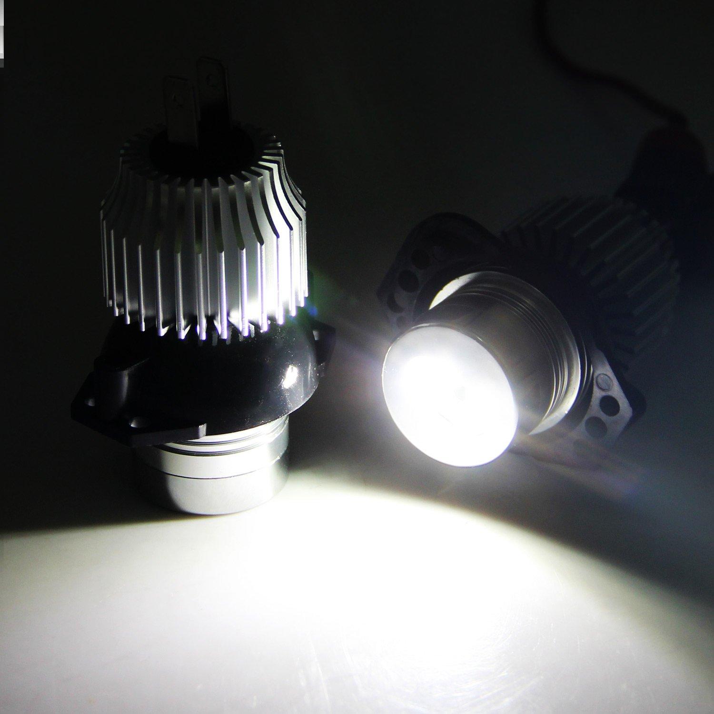 Win Power 12W LED Faros Angel Eyes para coche CREE CanBus No hay error Auto Bombillas Luces de posición Ojos de Angel 6000K Xenon Blanco E90/E91, ...
