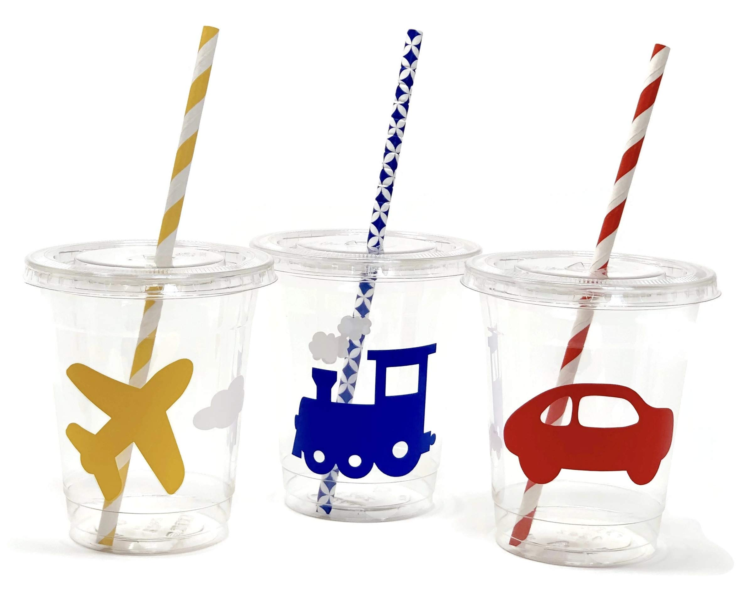 Transportation Party Cups - Set of 12 Planes Trains and Automobiles Birthday by Stesha Party