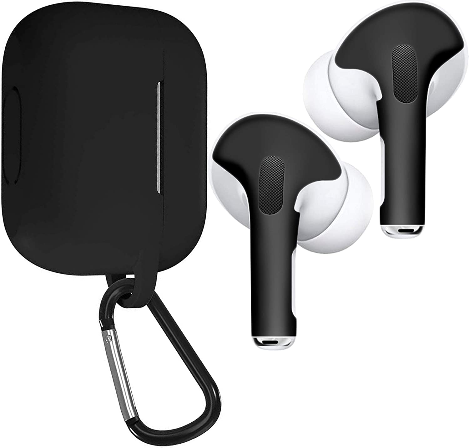 Matte Black Protective Wraps Stickers to Cover Air Pods APSkins Skins and Silicone Case Cover for AirPods Pro Compatible Sticker Vinyl Wrap Decal with Apple Air Pod Accessories