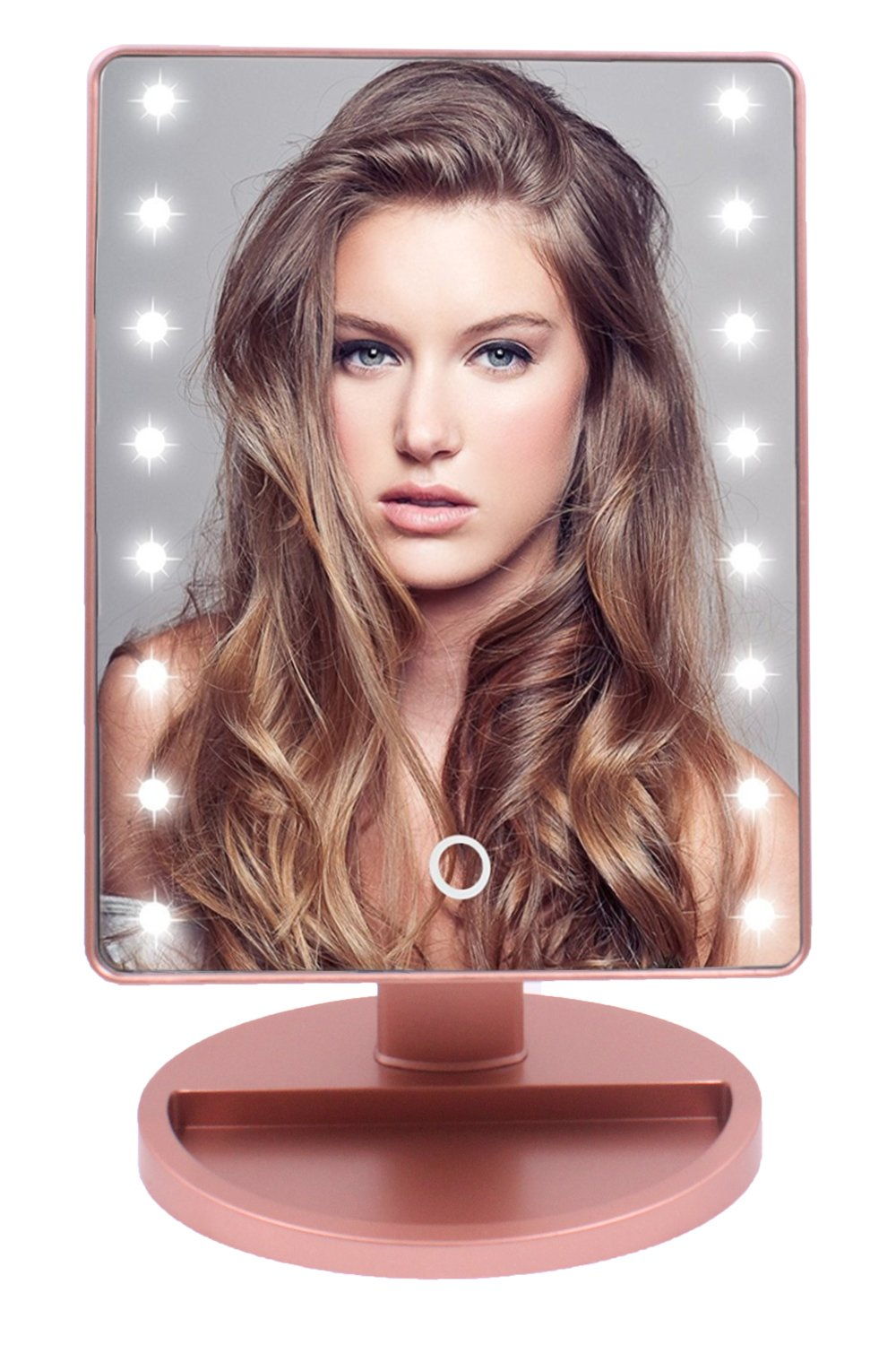JanYoo Lighted Makeup Mirror for Women,LED Vanity Lights Touch Screen 180°Adjustable Rotation USB Charging(Rose Gold) by JanYoo