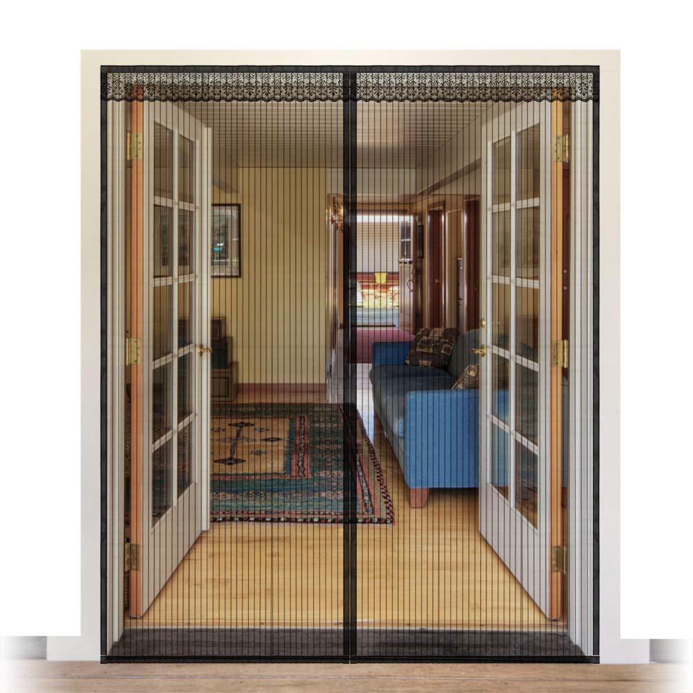 Upgraded Magnetic Screen Door 72x80, Heavy Duty Large Door Mesh for Sliding French Door Fits Size up to 70''W x 79''H(Black)