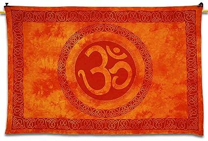 Amazon.com: Om Tapestry Decorative Home Decor Wall Art Orange Table ...