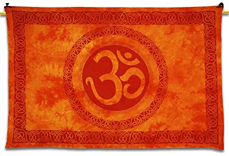 Amazon.com: Om Tapestry Decorative Home Decor Wall Art Orange ...