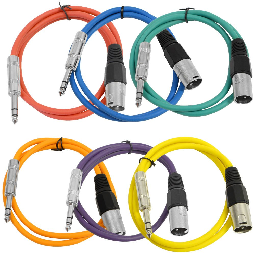 Seismic Audio SATRXL-M3BGORYP 3-Feet XLR Male to 1/4-Inch TRS Patch Cables - Multiple Colors
