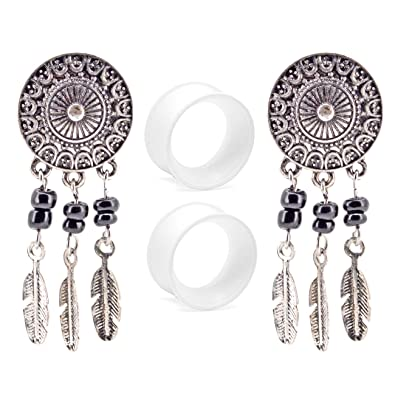 oufer Dangling Ohr Plugs Edelstahl Schwarz Sattel Dream Catcher Double Flared mit Klar Silikon Ohr Plugs Tunnel Body Piercing