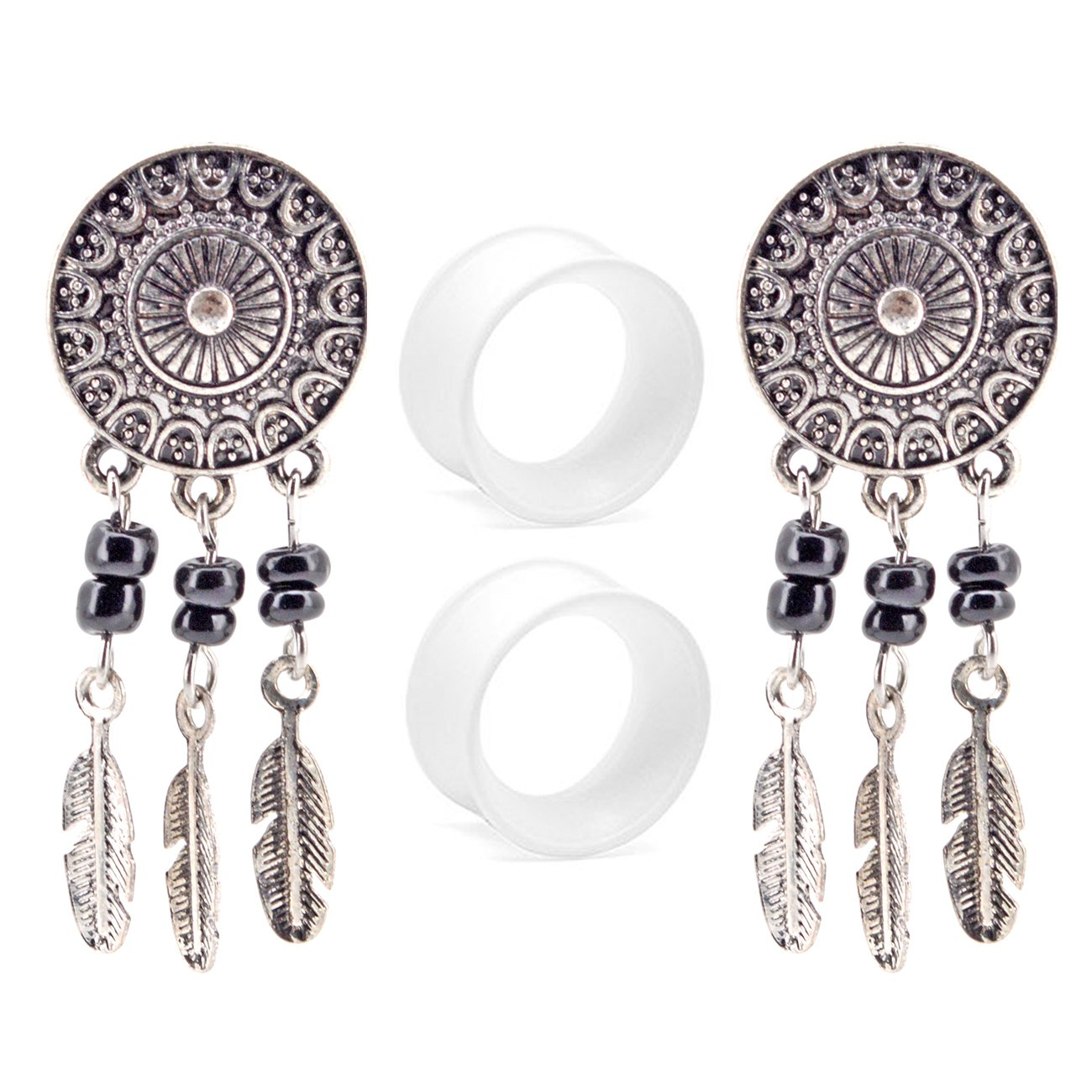 """OUFER Body Jewelry Stainless Steel Dream Catcher Dangle Double Flared Plug with Clear Silicone Ear Stretcher Piercing (2G--5/8"""")4piece (1/2''=12.7mm)"""