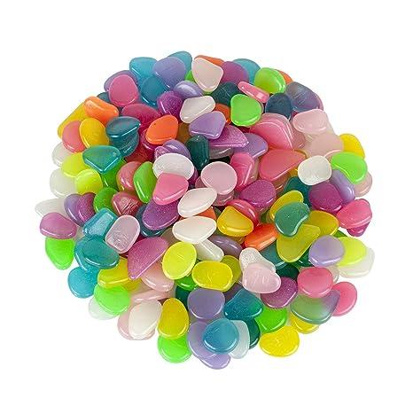 Glowing Garden Pebbles, 200 unidades de piedras decorativas de colores brillantes para jardín, brillan