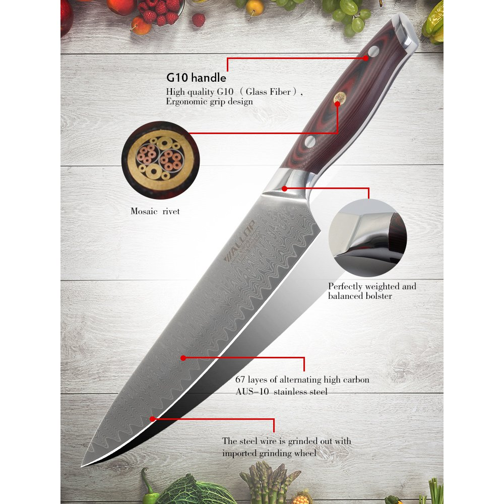 8' AUS-10 Core 67 Layers Damascus Chef Knife with G10 Handle and Wave Blade Pattern, Meat Cleaver, Vegetable Salad Chopper Cutter Knife by WALLOP VP by WALLOP (Image #6)