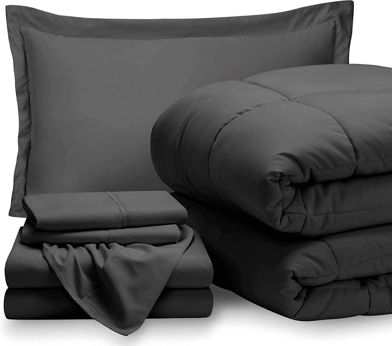 Bare Home Twin Sheet Set - 1800 Ultra-Soft Microfiber Bed Sheets (Twin, Grey) + Comforter Set - All Season (Twin/Twin XL, Grey)