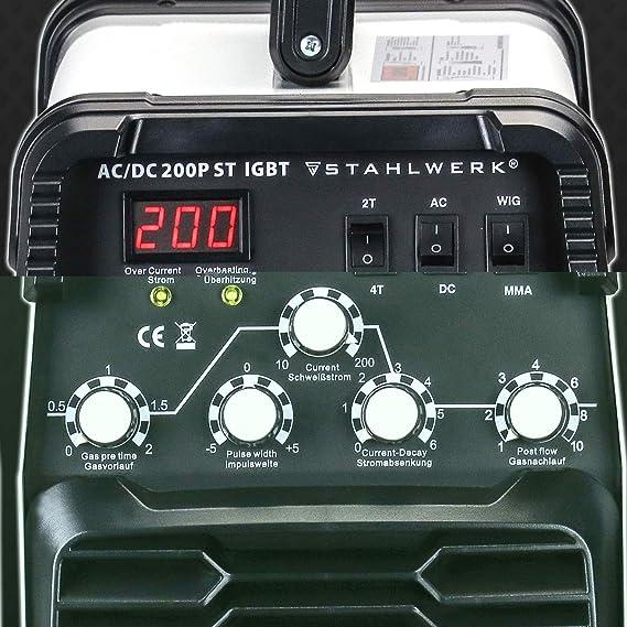 Acero de AC/DC Wig 200 ST IGBT Pulso - Combinado sudor dispositivo con 200 amperios Wig & MMA, ultrafina Chapa + Aluminio adecuado, 5 años de garantía del ...