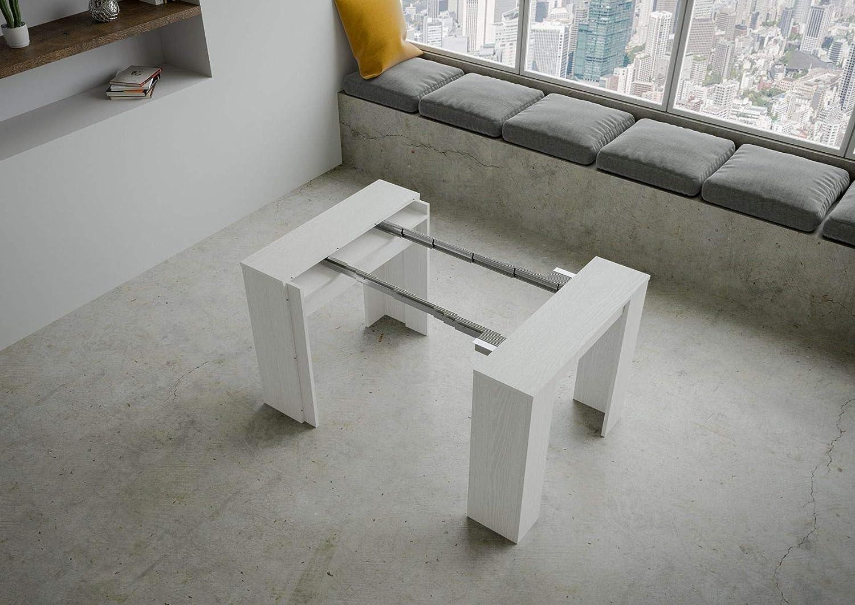 Itamoby Basic Small Ausziehbare Konsolentisch Wei/ß Esche ausziehbar bis 204 cm L.90 P.48 H.77 Spanplatten