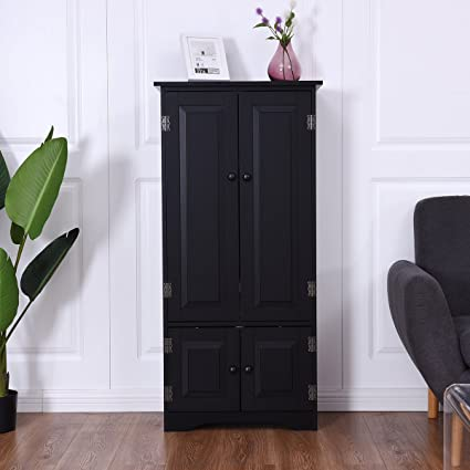 Giantex Accent Floor Storage Cabinet Adjustable Shelves Antique 2 Door Low  Floor Cabinet (Black