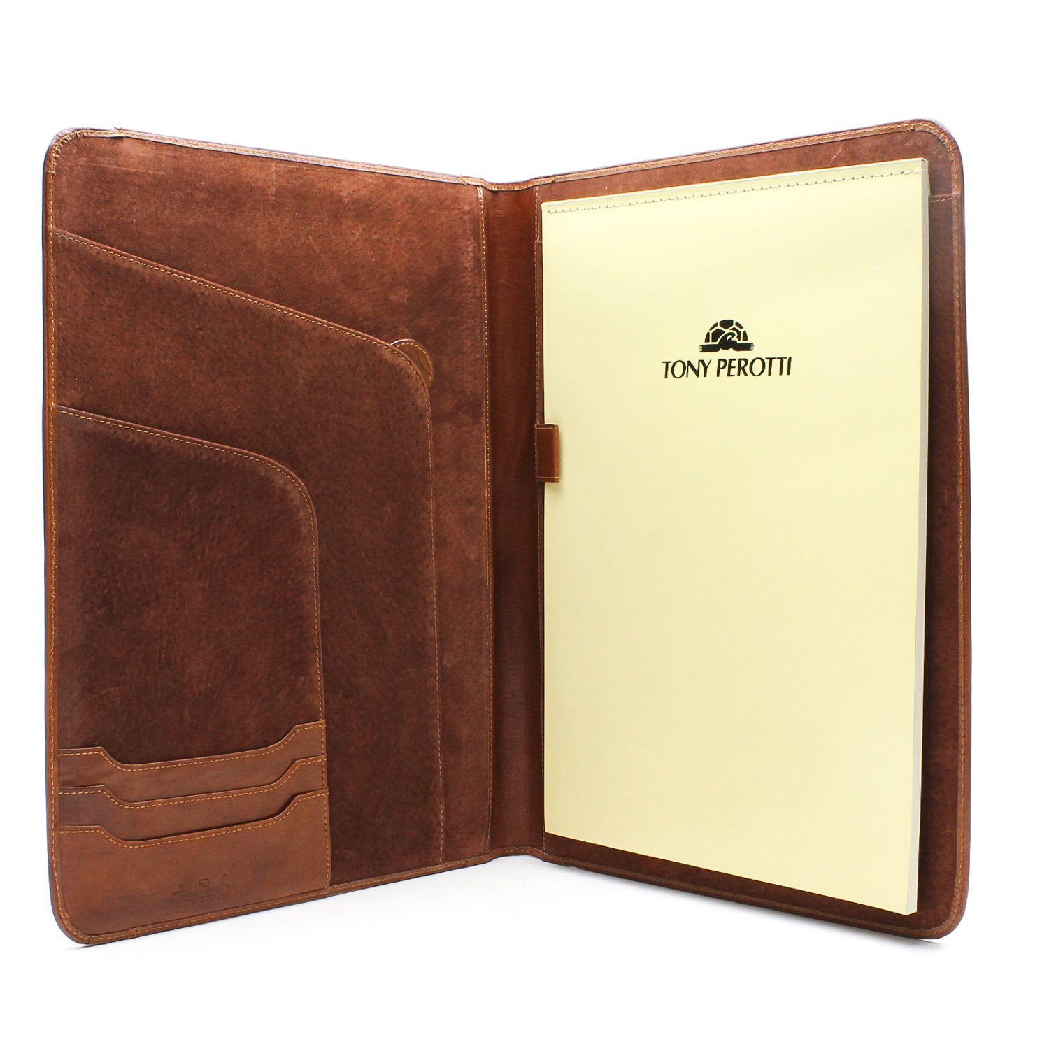 Tony Perotti Unisex Italian Bull Leather [Personalized Initials Embossing] Express Business 8.5'' x 11'' Writing Padfolio in Cognac