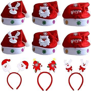 ZYDTRIP 9 Paquetes de Gorro de Navidad para niños y Adultos, Cinta para la Cabeza y Sombrero de Navidad, Varios Tipos, Gorro de Santa Claus Gorro de Santa Claus Navidad Santa Claus:
