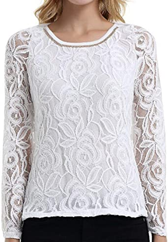 Tops Mujeres Ocio Cuello Redondo Manga Larga Tops Retro Camisas Camisa Encaje Delgado Blusa Camiseta Tops: Amazon.es: Ropa y accesorios