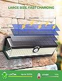 LITOM Solar Motion Sensor Light, Large Size 122 LED solar lights with Front button, Indicator Lights, 3 Modes and IP67 Waterproof rating for Door, Garden, Deck, Porch-2 Pack