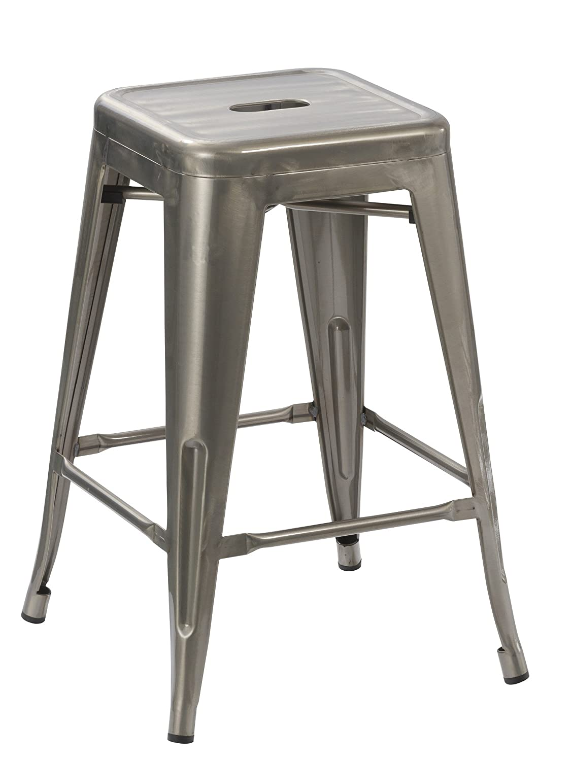 BTEXPERT 24-inch Industrial Tabouret Vintage Antique Rustic Style Distressed Metal Brush Modern Dining Counter Bar Stool – Barstool