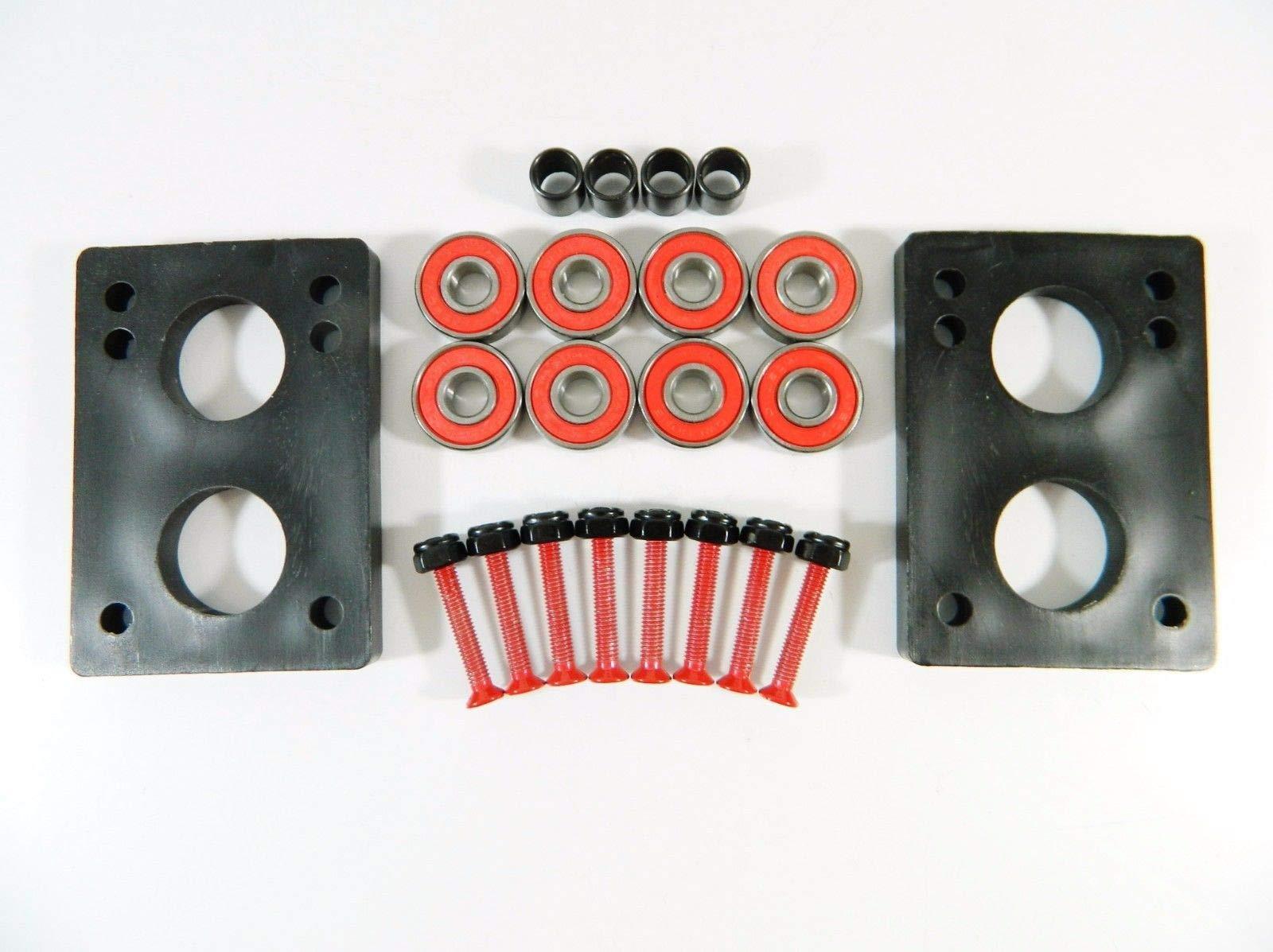 Good Skateboard Red ABEC 7 Precision Bearings + 1.25'' Color Hardware + 1/4'' Riser Pads
