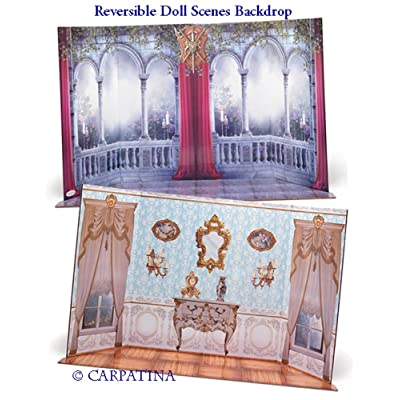 "Doll Scene Backdrop - Reversible Baroque Interior and Castle,Fits 18"" American Girl: Toys & Games"
