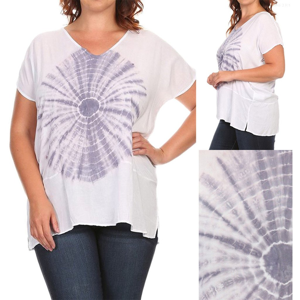 e61e6b0b1 T Party PLUS SIZE Front Tie Dye V Neck short Sleeve Top at Amazon Women's  Clothing store: