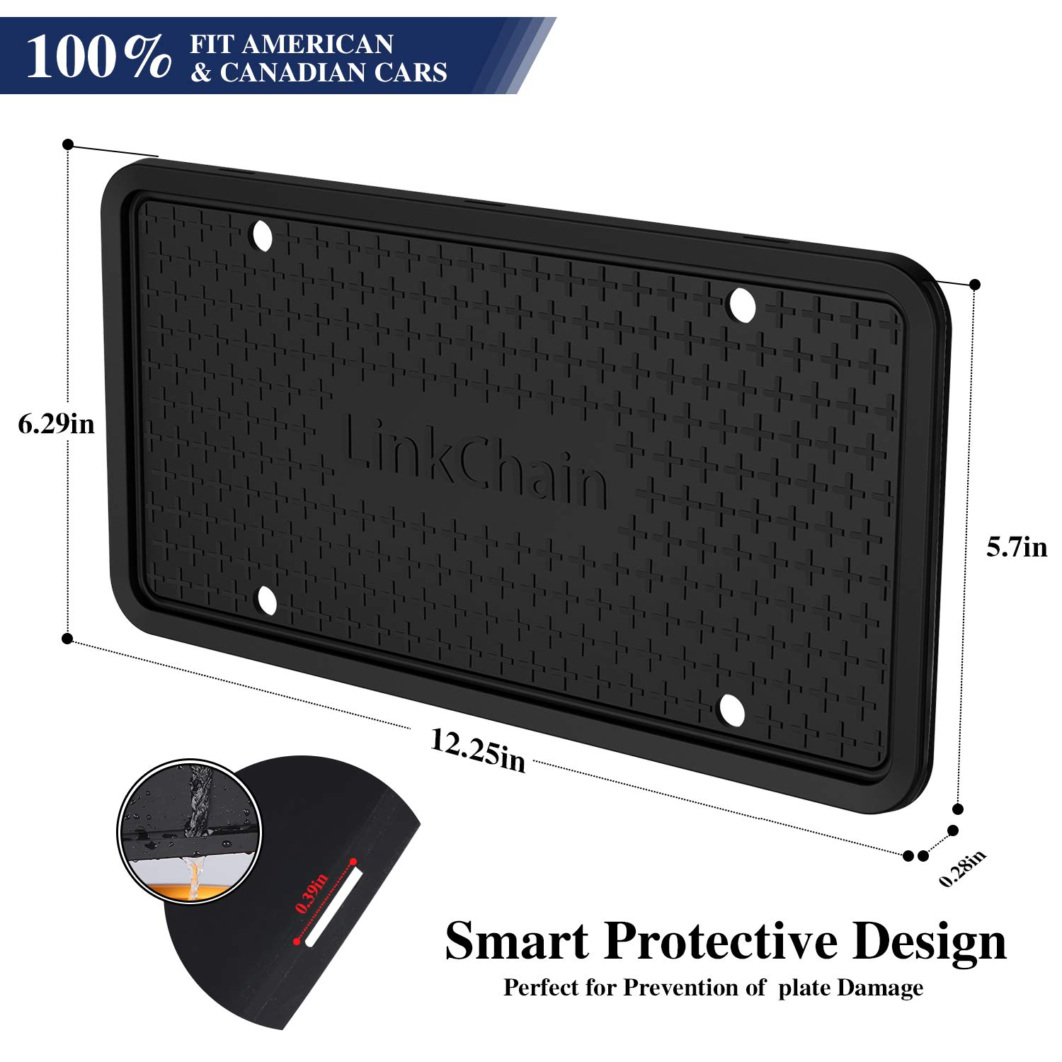 Weather-Proof and Rattle-Proof License Plate Frame for Car Black License Plate Frame,Silicone License Plate Frame with Drainage Holes ,Rust-Proof 1PCS