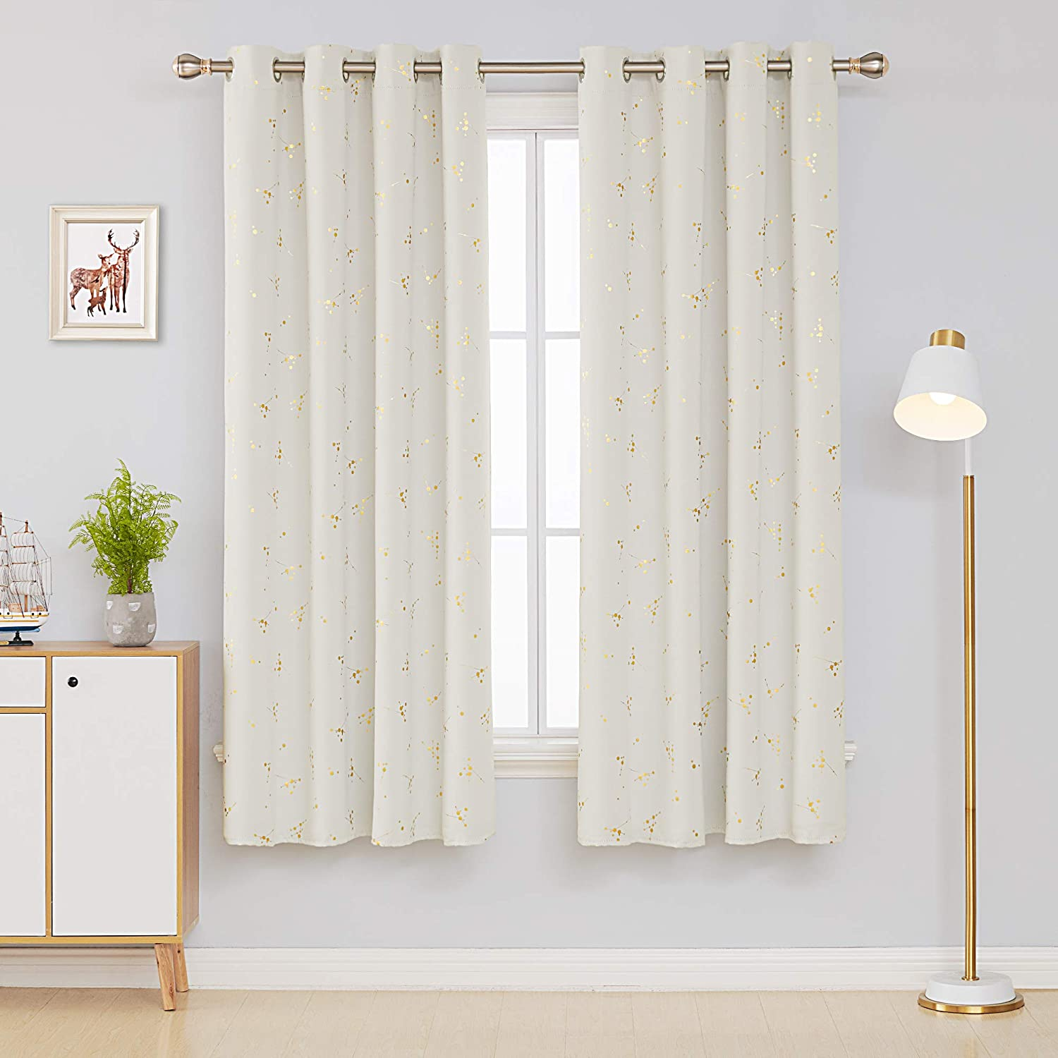 Deconovo Noise Reduction Curtains Eyelet Blackout Curtains Thermal Insulated Curtains Gold Constellation Printed Curtains for Boys Bedroom with Two Matching Tie Backs Beige W55 x L90 One Pair