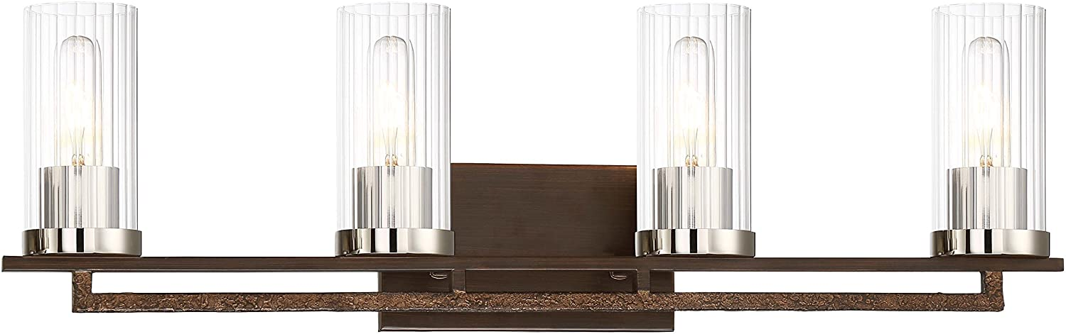 Iron Ore Minka Lavery Wall Light Fixtures 4604-101 Maddox Roe Bath Vanity Lighting 4-Light 240 Watts