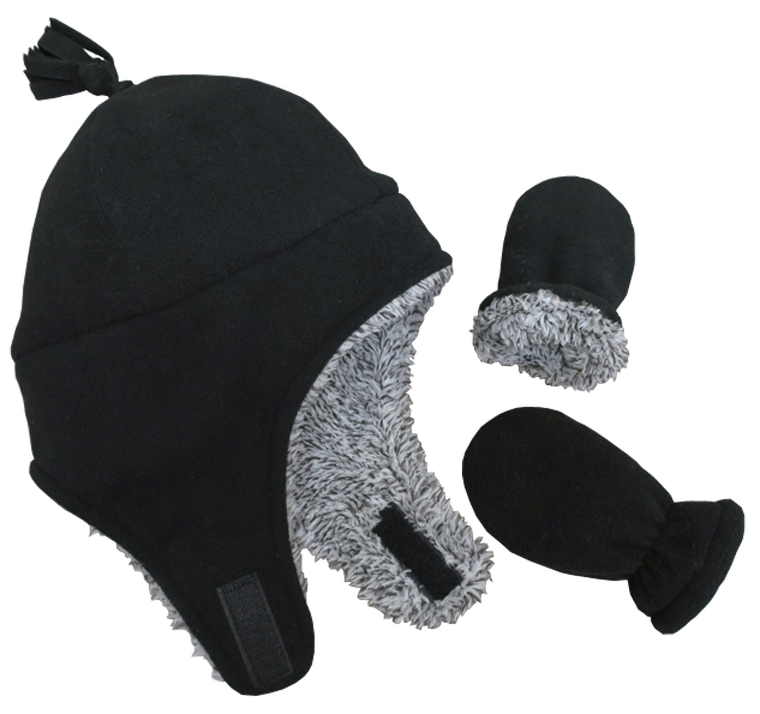 N'Ice Caps Little Boys and Baby Sherpa Lined Micro Fleece Pilot Hat Mitten Set (3-6 Months, Black/Grey Mix Sherpa Infant)