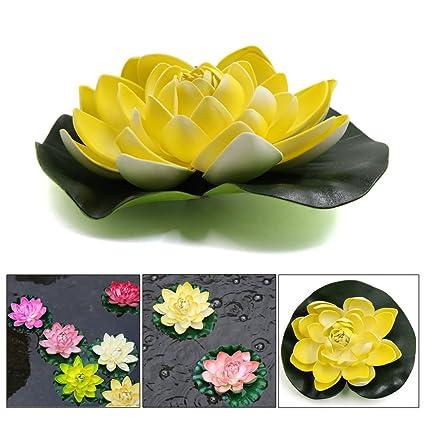 Sourcingmap® Planta Flotante Acuario Espuma Amarilla Flor De Loto Estanque Decoración del Ornamento 17Cm Diámetro