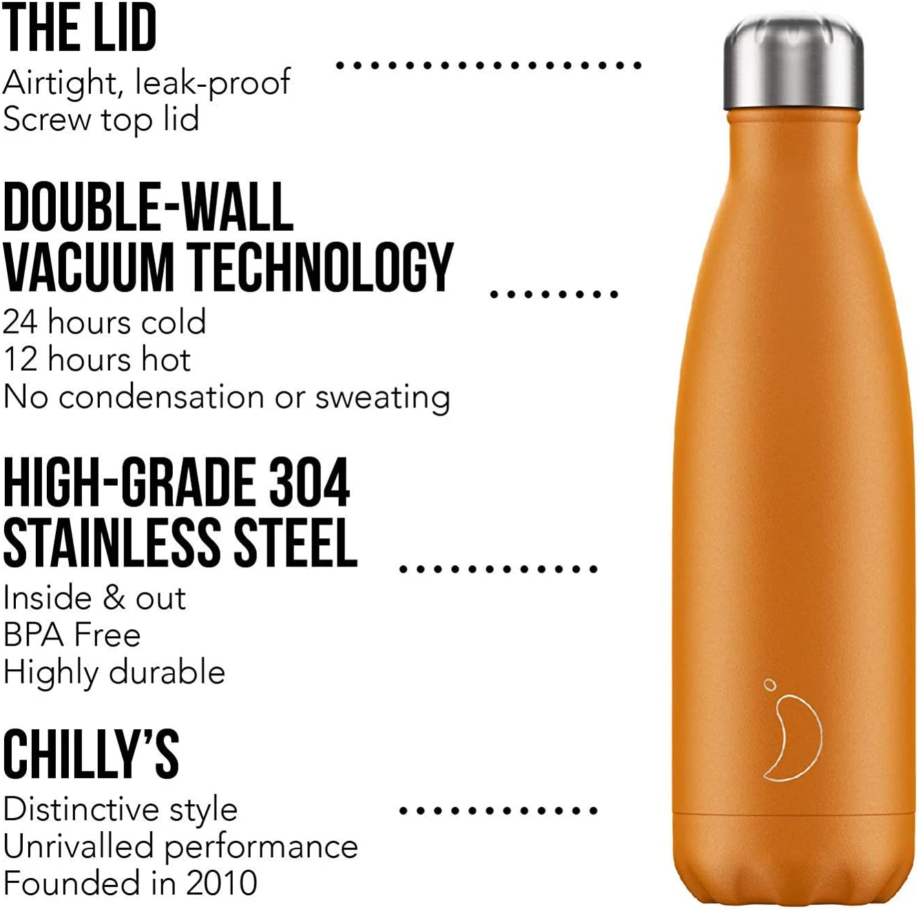 Keeps Cold for 24+ Hrs BPA-Free Stainless Steel Hot for 12 Hrs Reusable Water Bottle Chillys Bottles Double Walled Vacuum Insulated No Sweating Leak-Proof