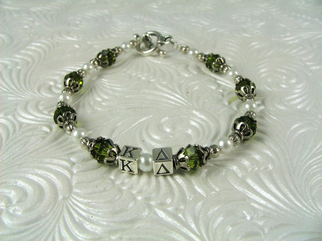 Kappa Delta Greek Letter Bracelet Sorority Officially Licensed Sterling letters Swarovski Crystal