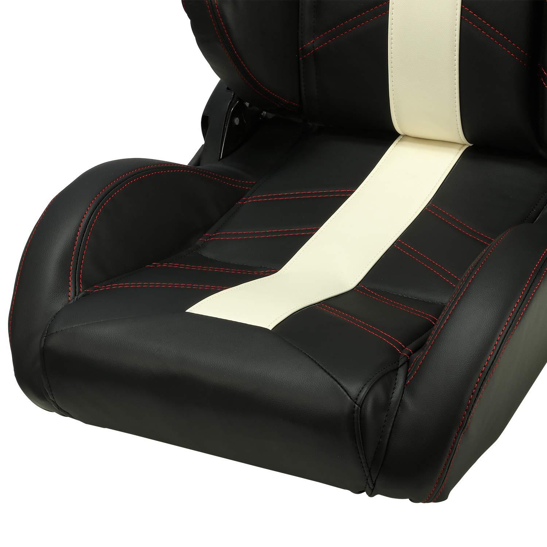 SPPC Pair Universal Racing Seats Black PVC Main White Line Bucket Seats Slider