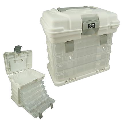 Lunar Box - Cajas de almacenamiento y transporte con 4 compartimientos ajustables, caja de manualidades