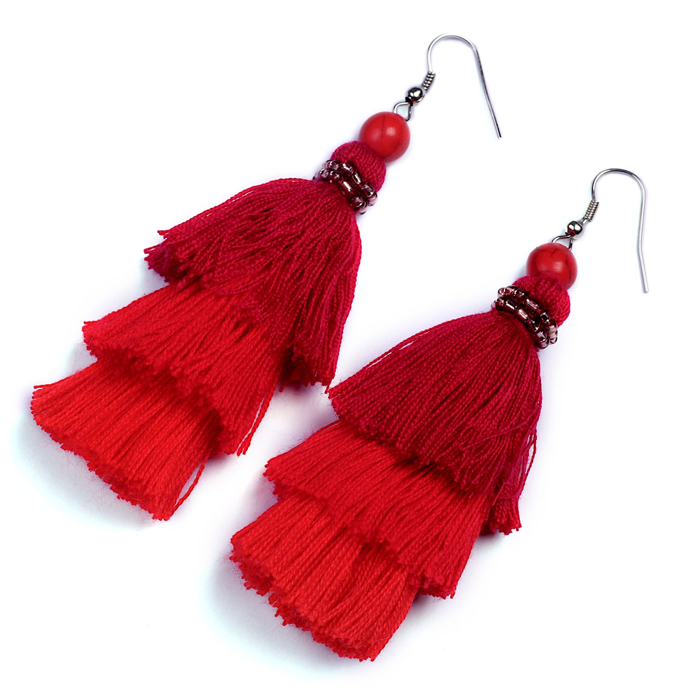 AKITAI Bohemian Jewelry Unique Ideas Red Layered Tassel Earrings Boho Ethnic Handmade Gypsy Style
