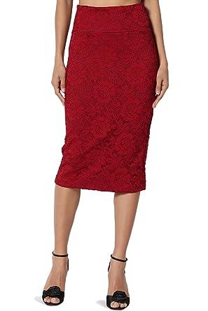 7b1c26f50 TheMogan Junior's Floral Lace Overlay High Waist Pencil Midi Skirt Burgundy  S
