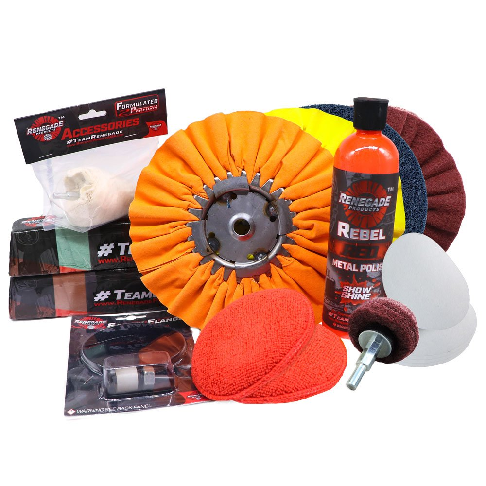Renegade Complete Aluminum Polishing and Sanding Kit for Wheels, Bumpers, Tanks and Any Other Aluminum Or Stainless Surface, 12 Piece Product Kit