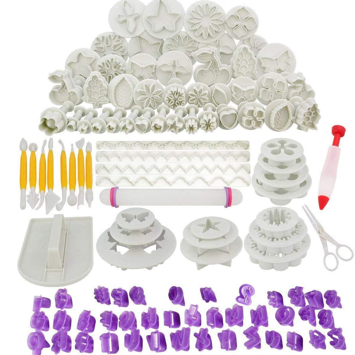 Abimars 110pcs Cake Decorating Tools Fondant Icing Cutters Sugarcraft Tools Kit Plunger Cutters Rose Flower Leaf Moulds Cup Cake Cookie Alphanumeric Characters Moulds Set