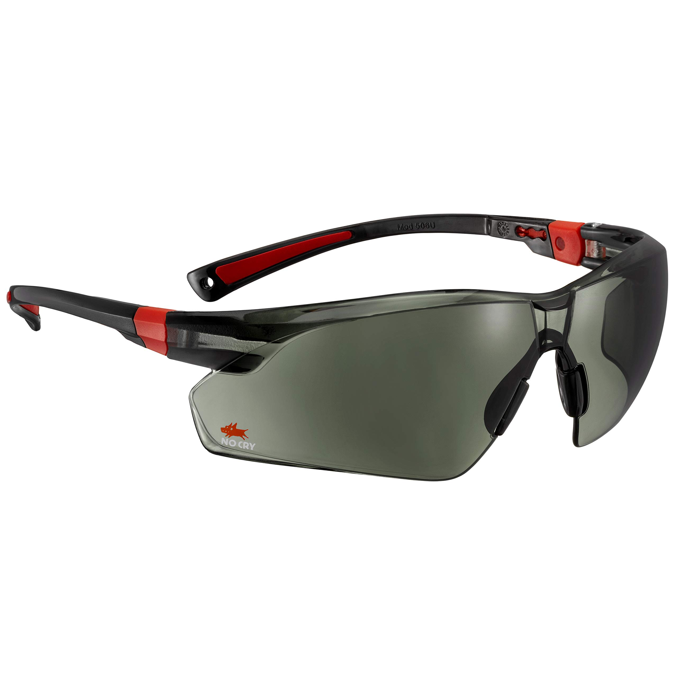 NoCry Work & Sports Safety Sunglasses - with Green Tinted Anti Scratch Wrap-Around Lenses, Non-Slip Grips, UV 400 Protection, Adjustable Fit, Black & Red Frames by NoCry