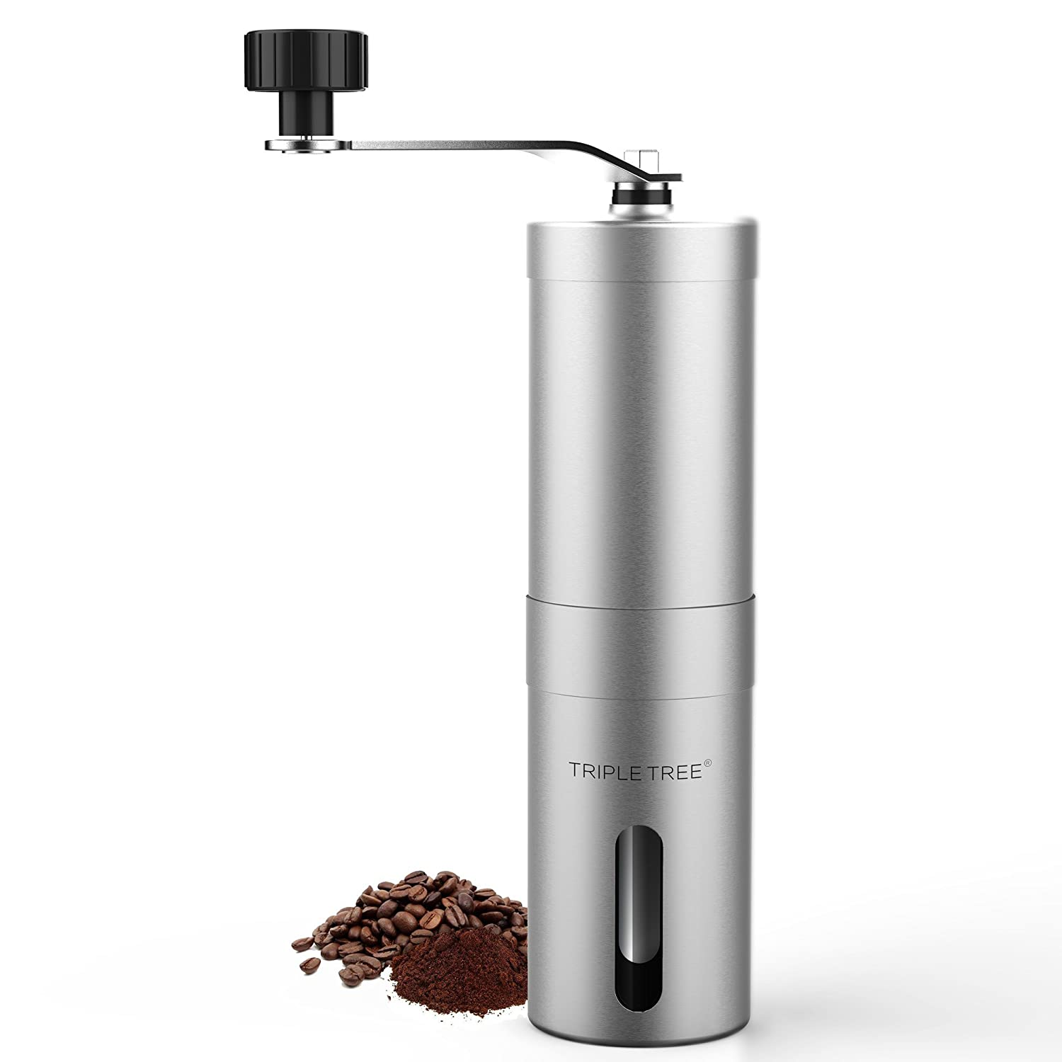 Portable Manual Coffee Grinder, Hand Coffee Bean Mill With Ceramic Burr, Stainless Shell, Removable handle, 0.4 Cup Container TRIPLE TREE
