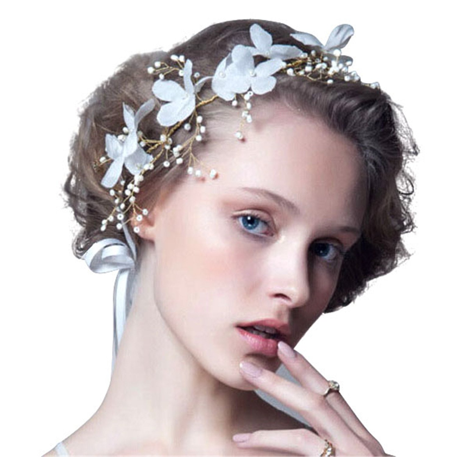 fc756feae96 Buy Rrimin Pearl Bead Flower Headwear Bridal Wedding Handmade Women s Hair  Accessories - White Online at Low Prices in India