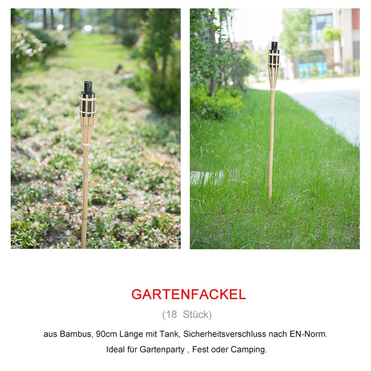 DXP 18x Gartenfackel Bambus Bambusfackeln 90cm Öllampen mit Sturmverschluss Dochtschutz Deko EZH-01 hillfield