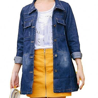 3df9fe958 Huiwa Womens Denim Jacket Plus Size Solid Color Long Sleeve Loose Bomber  Basic Coat