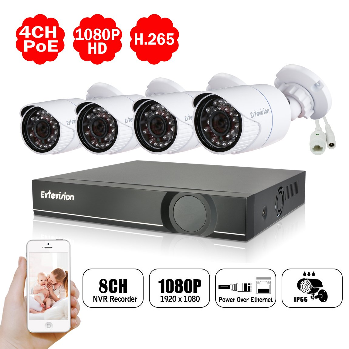 Evtevision 防犯カメラセット 監視カメラ4台 8チャンネル 録画機(NVR) H.265 ネットワークレコーダー 1080P 200万画素 POE給電 IR CUT内蔵 防水仕様 遠隔監視対応 日本語システム(HDDなし) 屋内屋外兼用 ブラック B07BDJJ8S7 POE NVR+4台200万画素POE IPC(HDDなし) POE NVR+4台200万画素POE IPC(HDDなし)