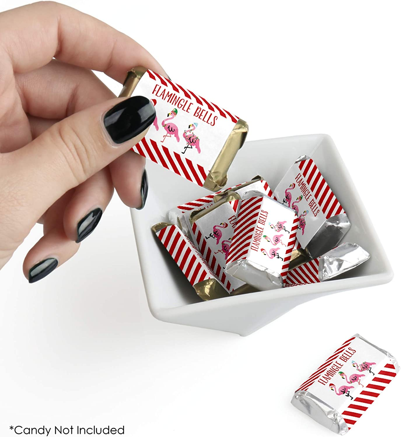Mini Candy Bar Wrapper Stickers 40 Count Tropical Christmas Party Small Favors Big Dot of Happiness Flamingle Bells