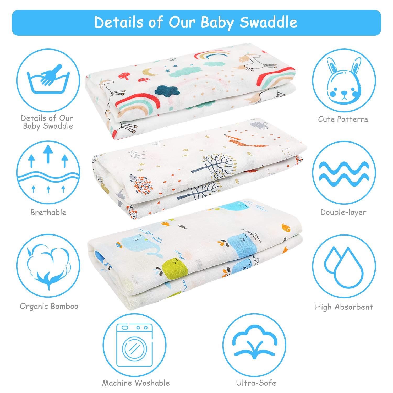 Ballery Baby Musselin Swaddle Decke 120 x 120 cm Baby Bambus Baumwolle Swaddle Wrap Weicher Receiving Decken Wraps f/ür Junge und M/ädchen