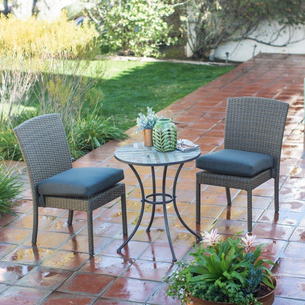 Amazon com ashera dark gray all weather resin wicker stone 3 piece patio bistro set garden outdoor