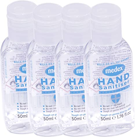4 X Hand Sanitiser Gel Anti Bacterial Travel Size 50ml Alcohol