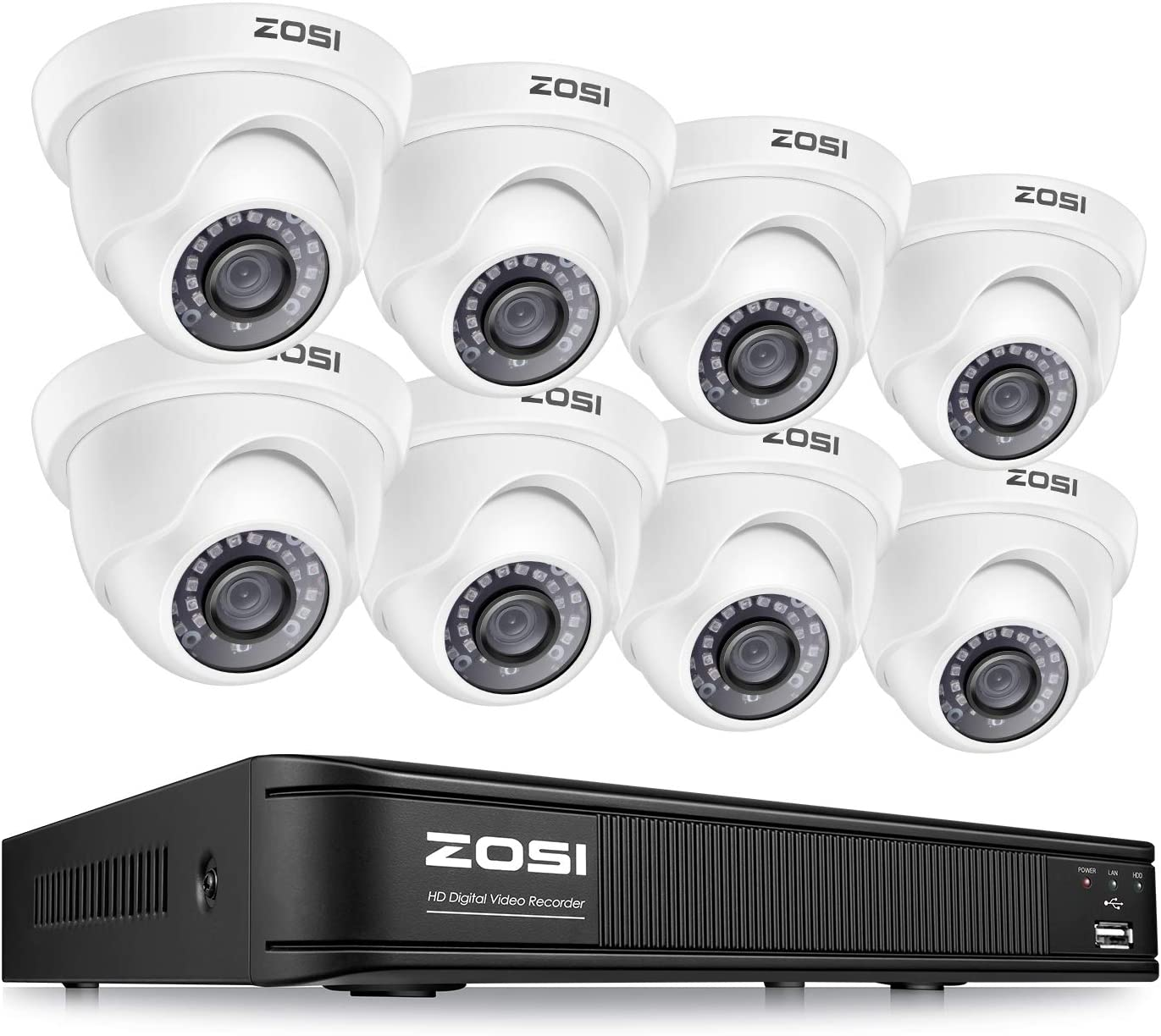 ZOSI H.265+ 1080p Home Security Camera System Outdoor Indoor, 8 Channel CCTV DVR Recorder and 8 x 1080p Surveillance Dome Camera, Remote Access, Motion Detection (No Hard Drive)